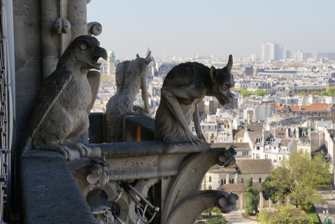 Gargoyles on top of Notre Dame