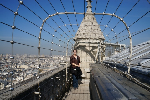 Alone with the attendant at the top of the Notre Dame towers