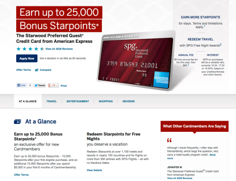 SPG card offer from the American Express website.