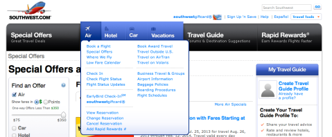 Southwest Change Reservation Option