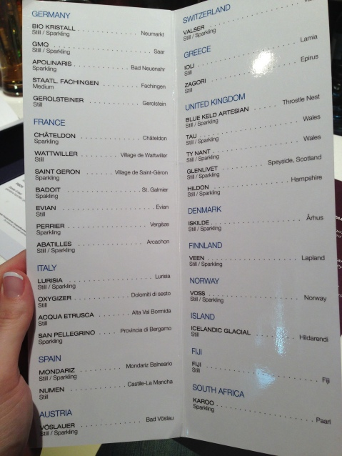 "The ""Water Bar"" Menu"