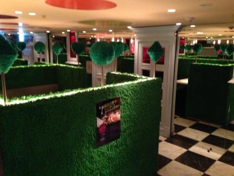 Booths in Tokyo's Alice in Wonderland Restaurant